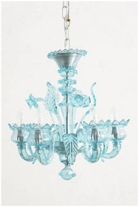 Anthropolgie Chandelier in Blue Murano Glass