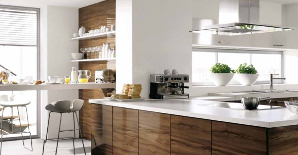Elegant Attractive Kitchen Design White Brown Wood Part 6